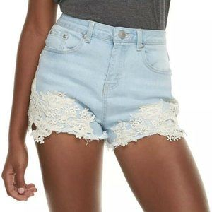 ALMOST FAMOUS Junior Light Blue High Rise Shorts